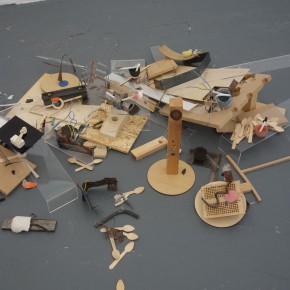 Installation of 12 tiny sculptures mixe with other mixed media. I created the small sculptures as part of this residency.